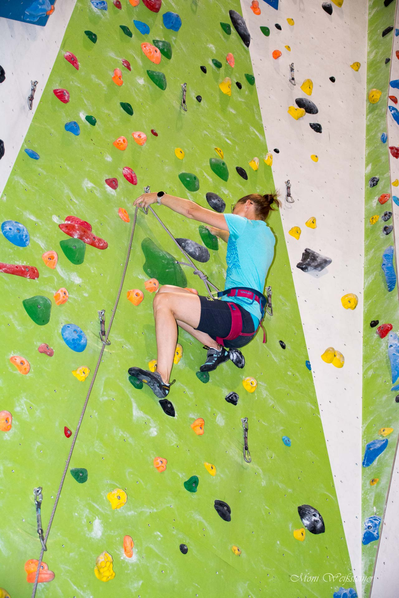 Vorstiegsklettern beim Klettertreffen in der Kletterhalle in Wörgl mit Moni Weißsteiner