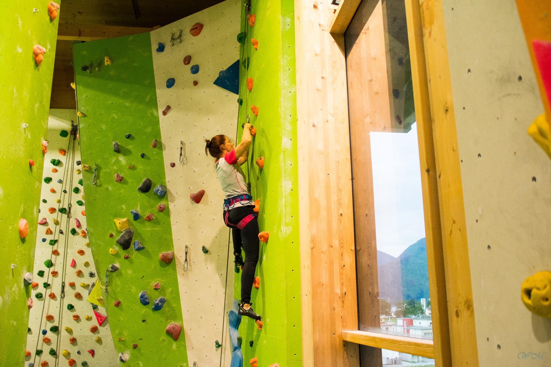 Klettertreffen in der Kletterhalle in Wörgl mit Moni Weißsteiner